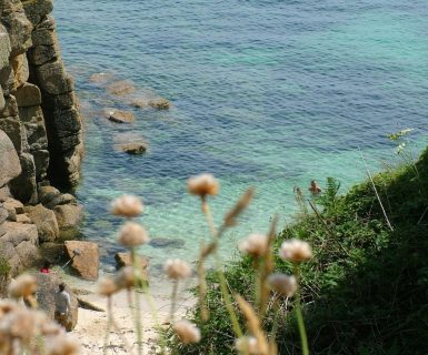 Poldark country, West Cornwall, filming swimming scenes at Porthgwarra St Aubyn