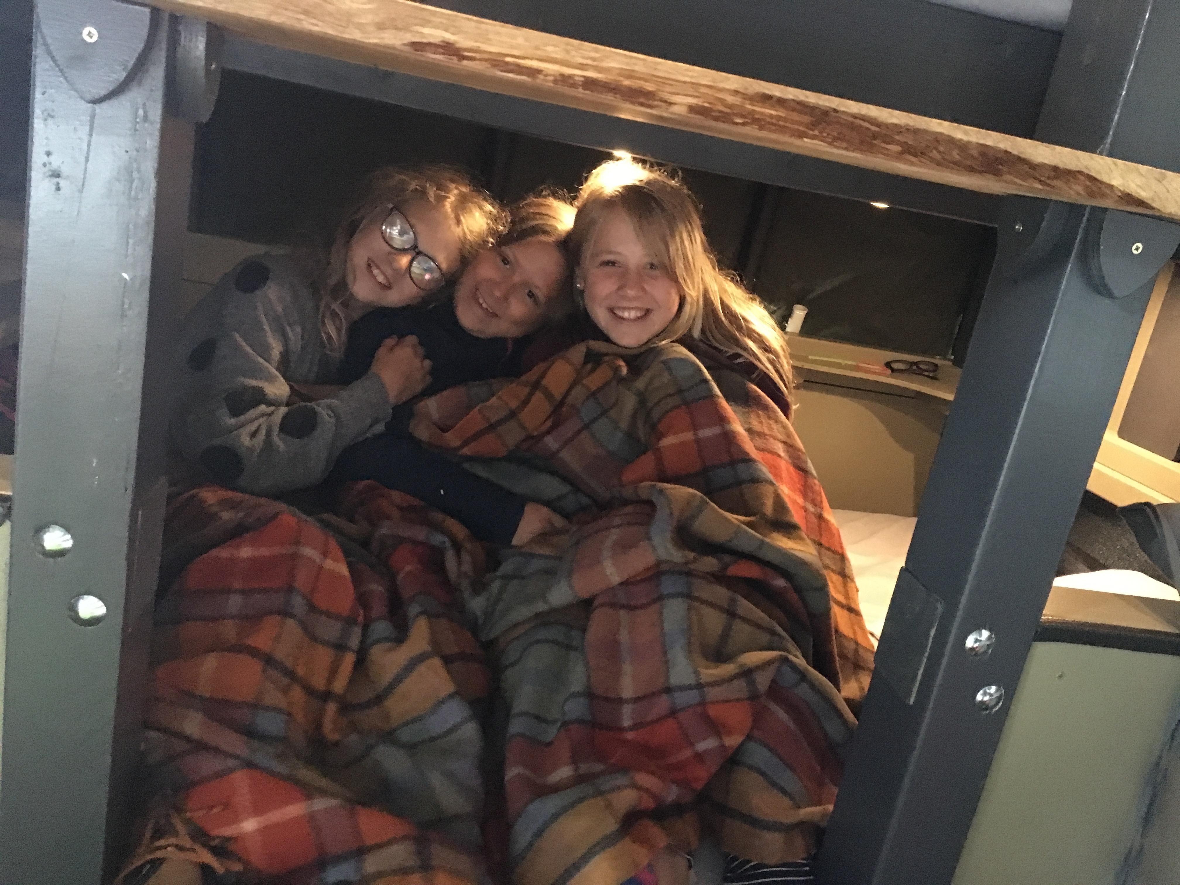 Enjoying the bottom bunk