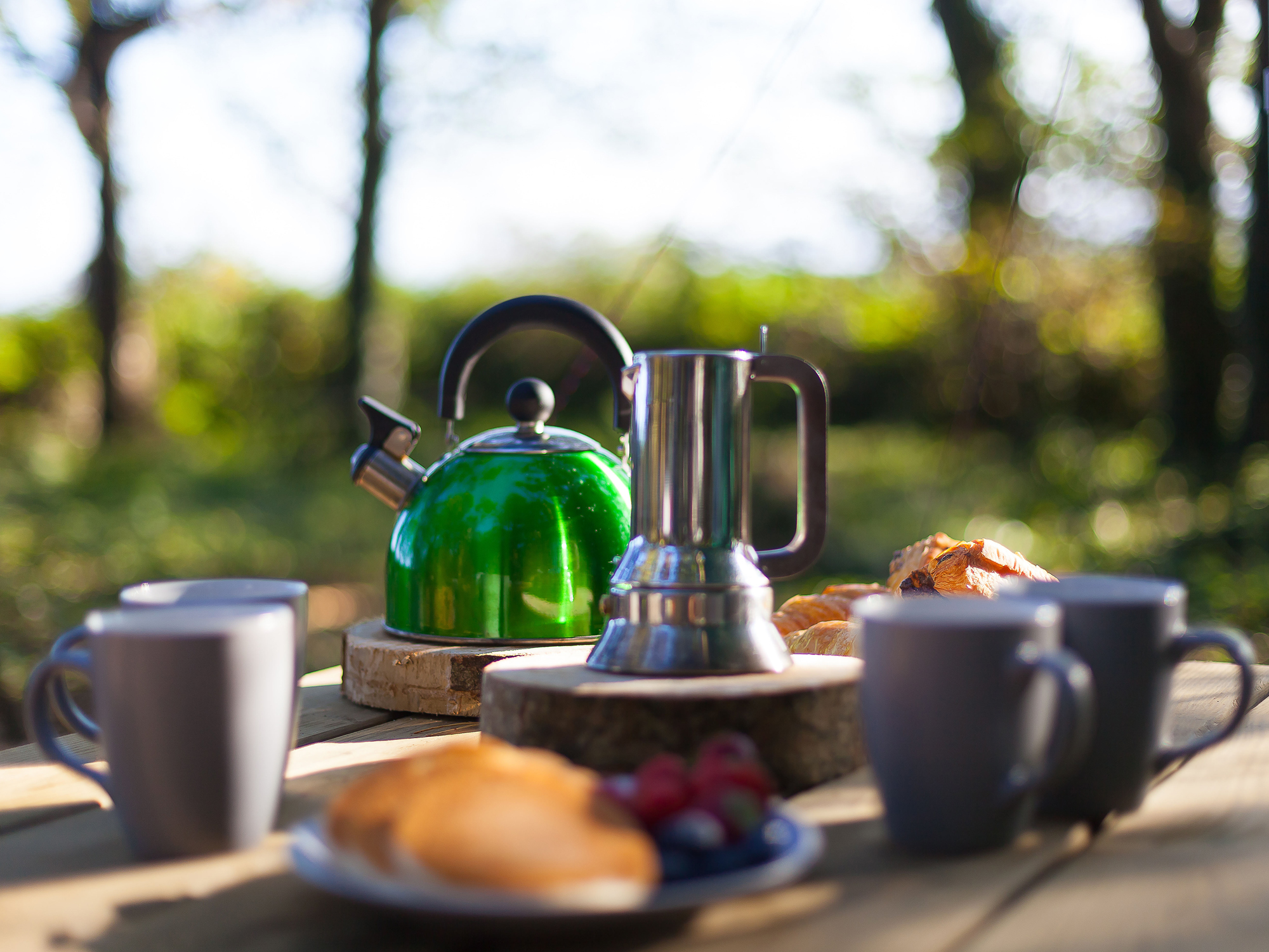 Breakfast table and kettle