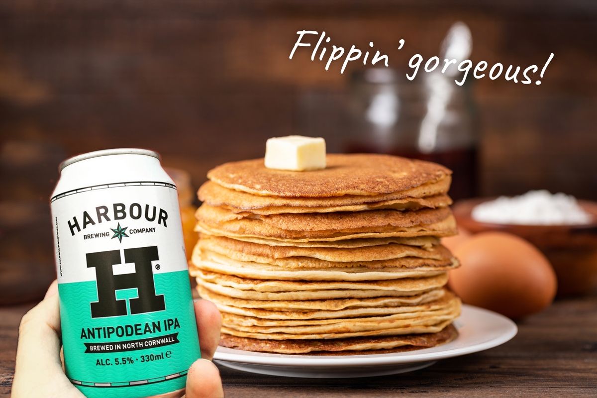 Can IPA beer and stack of pancakes